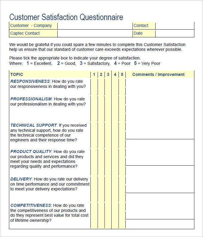 Customer Satisfaction Survey Template Free Download