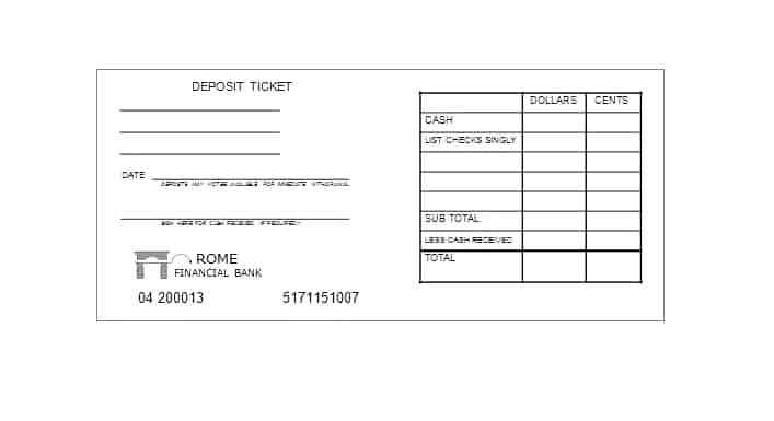 Deposit Slip Template For Students