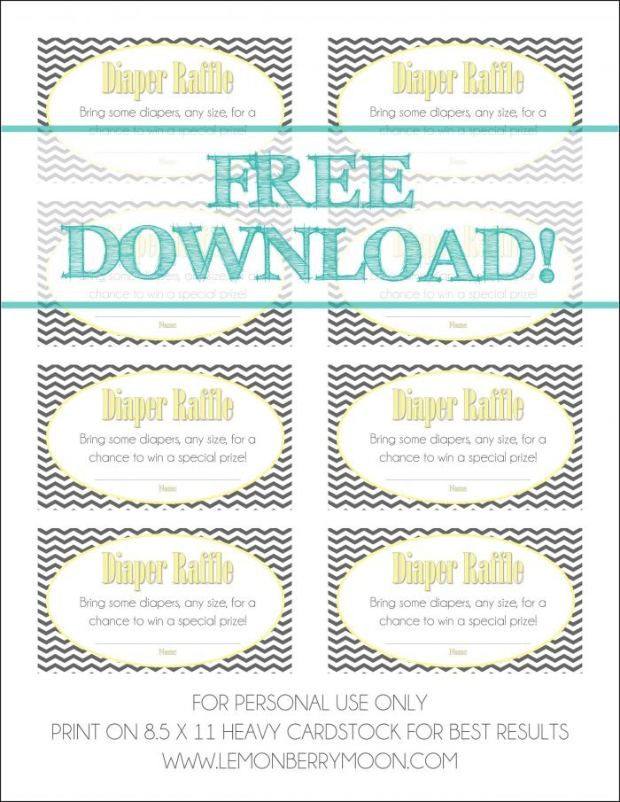 Diaper Raffle Card Template Free