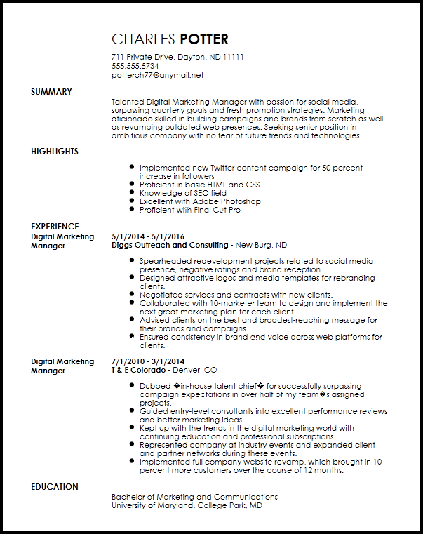 Digital Marketing Resume Template Free