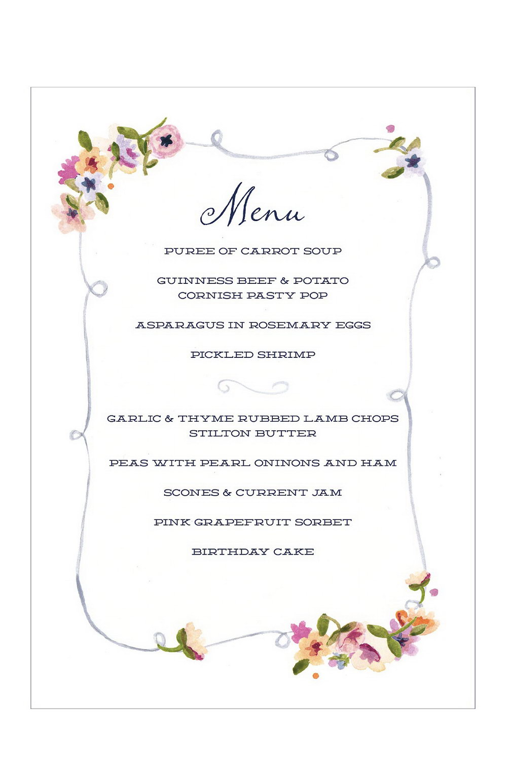 Dinner Party Menu Template Word