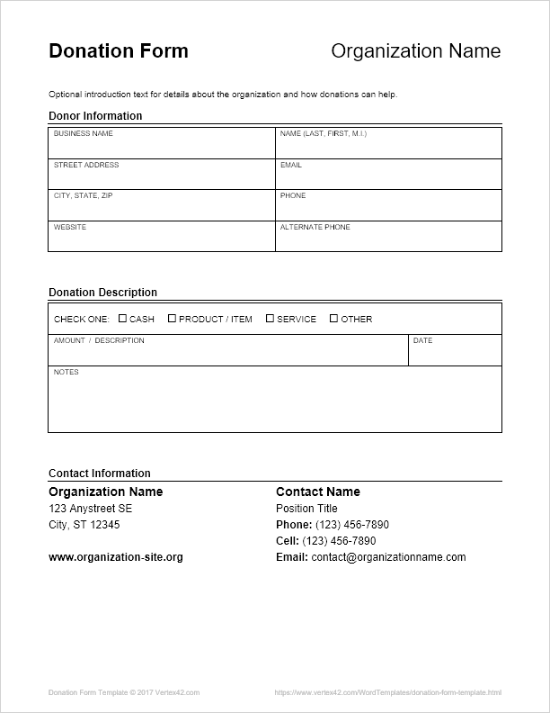 Donation Form Template For Church