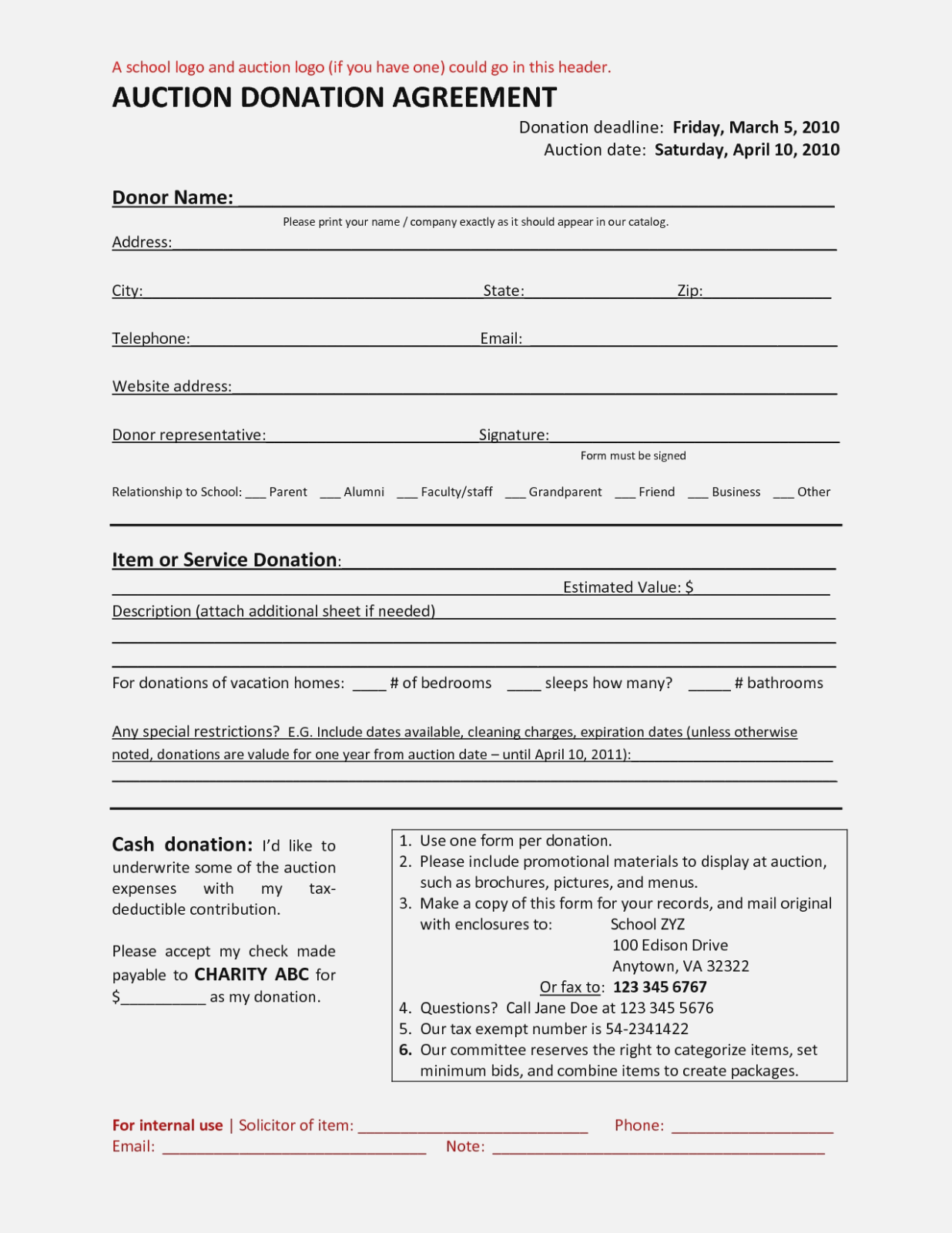 Donation Form Template For School