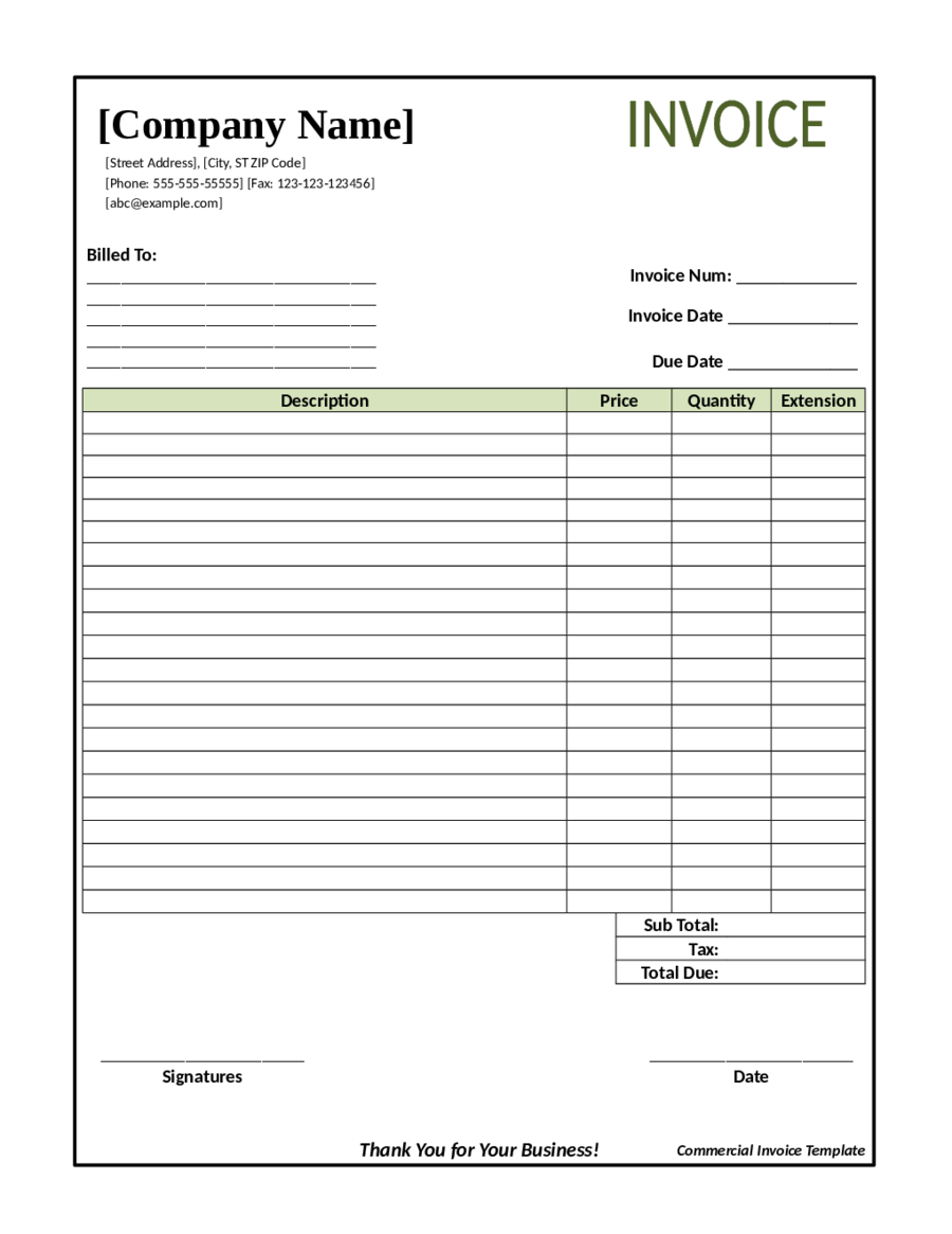 Downloadable Free Blank Invoice Template Pdf