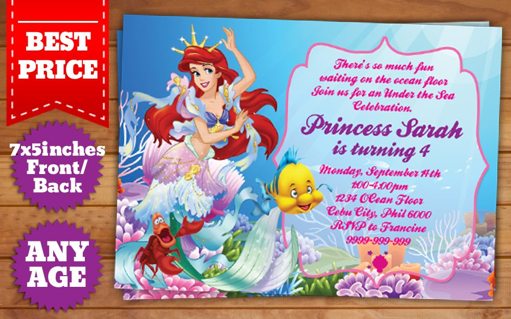 Downloadable Little Mermaid Invitation Template