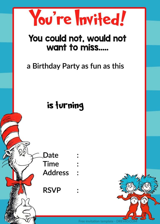 Dr Seuss Birthday Invitations Templates