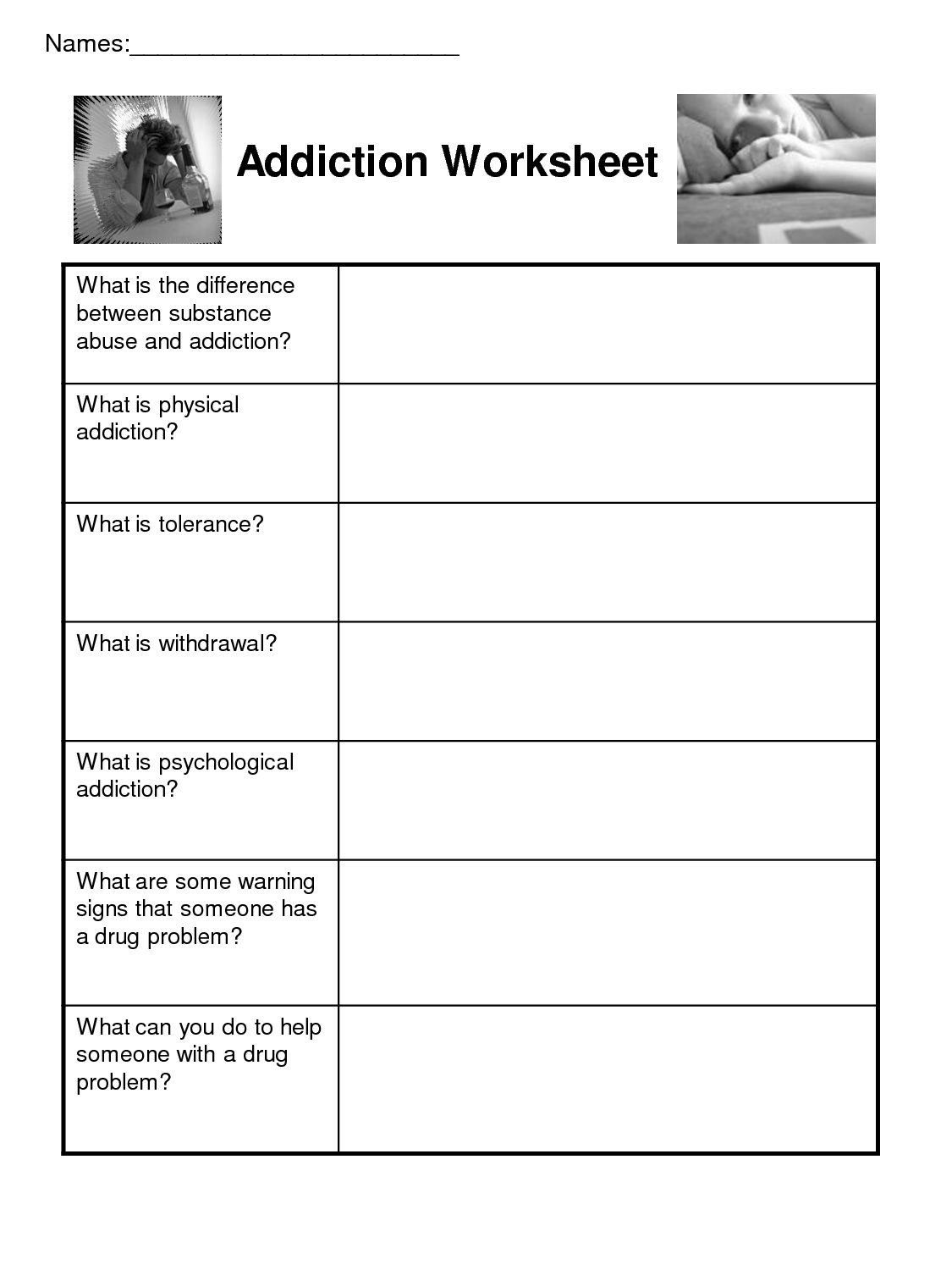 Drug Addiction Worksheets Pdf
