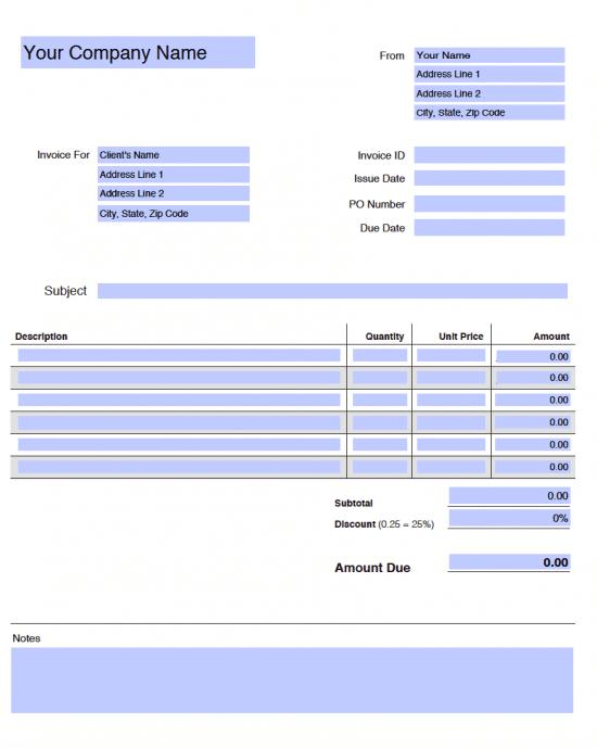 Editable Blank Invoice Template Pdf
