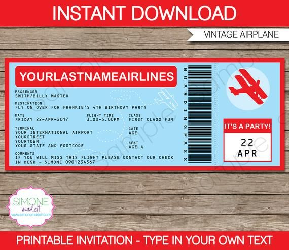 Editable Boarding Pass Invitation Template