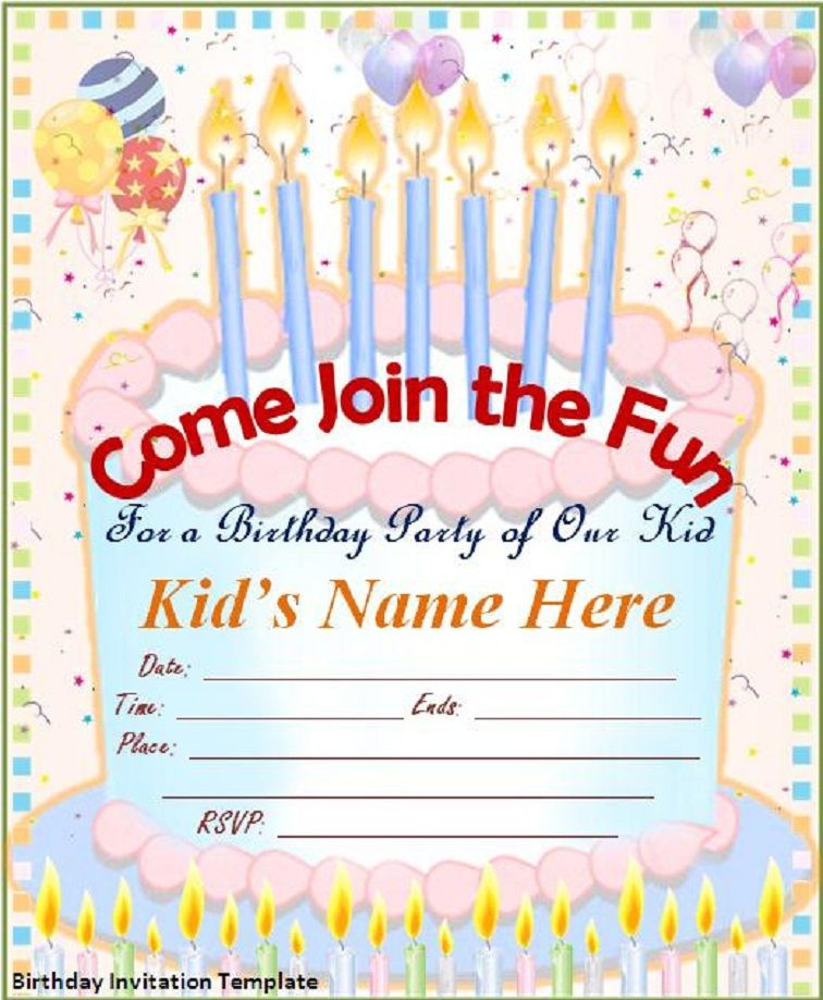 Editable Free Birthday Party Invitation Templates