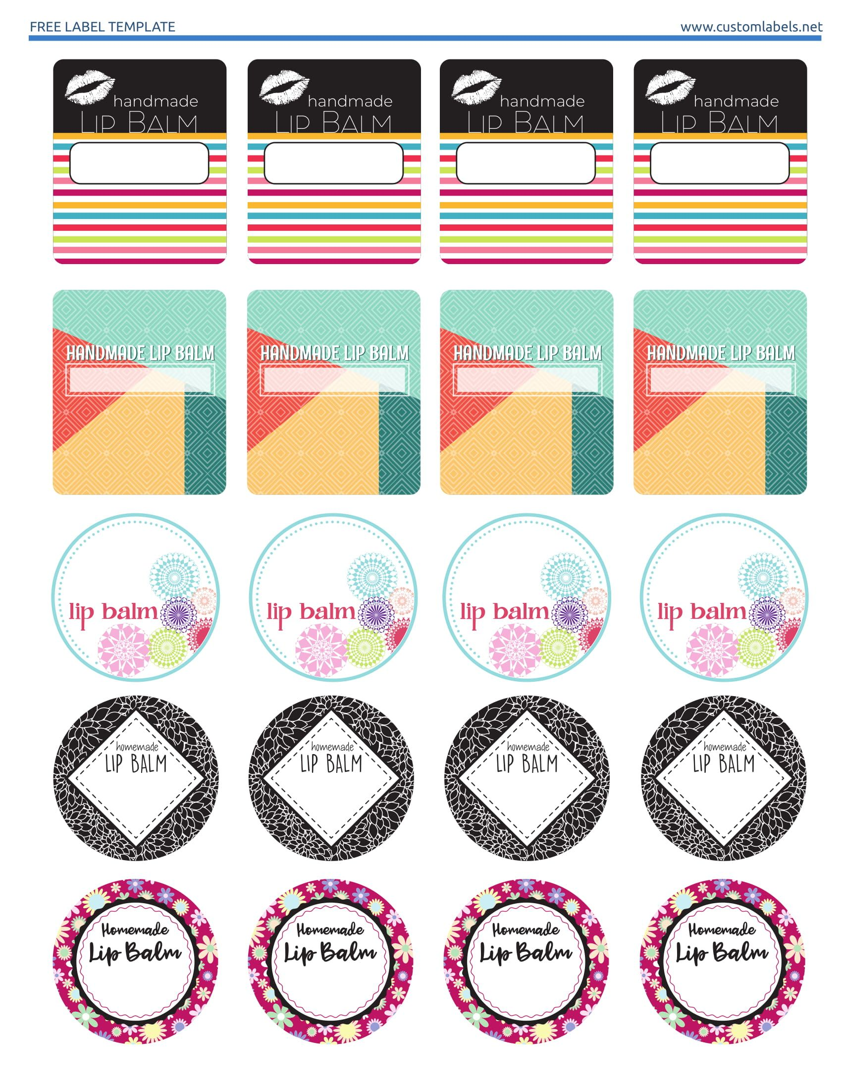 Editable Lip Balm Label Template
