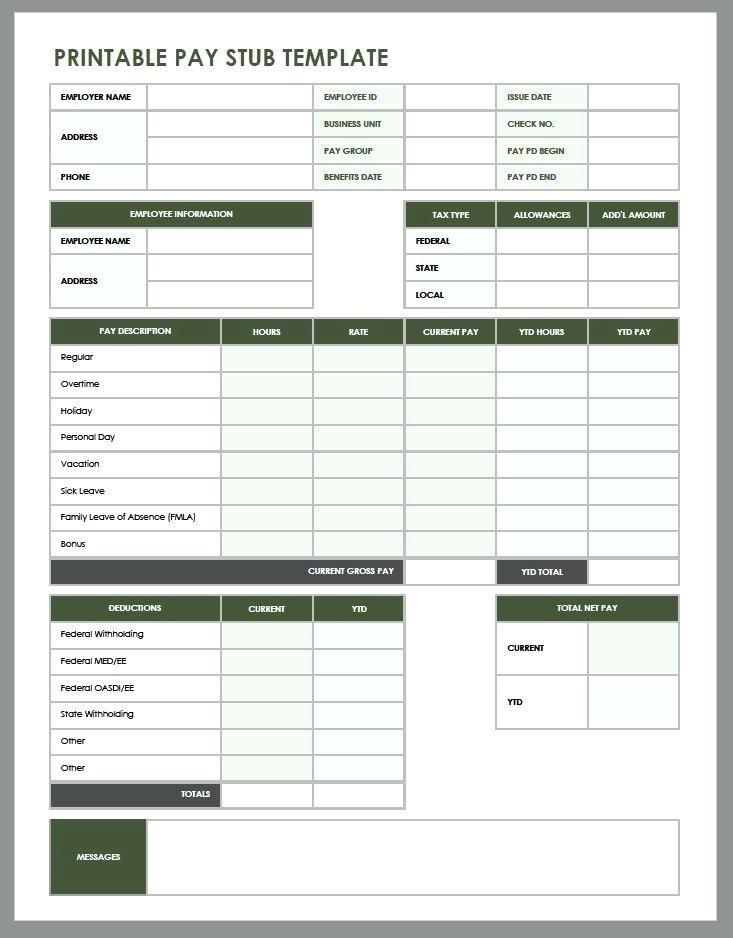 Editable Pay Stub Template Excel