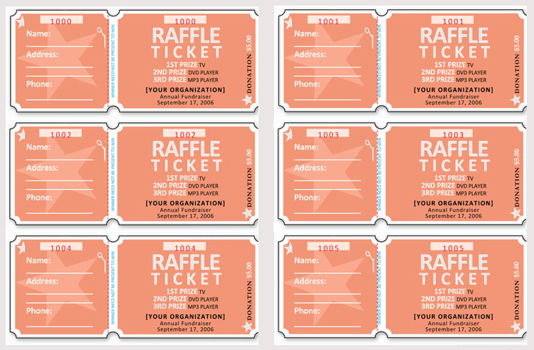Editable Raffle Ticket Template Word