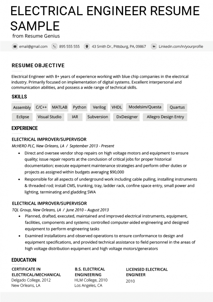 Electrical Engineer Resume Example & Writing Tips | Resume Genius