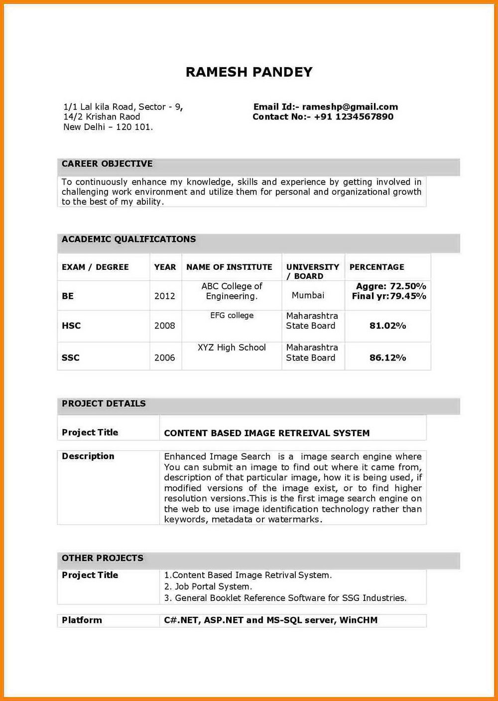 Engineering Resume Format Download In Ms Word
