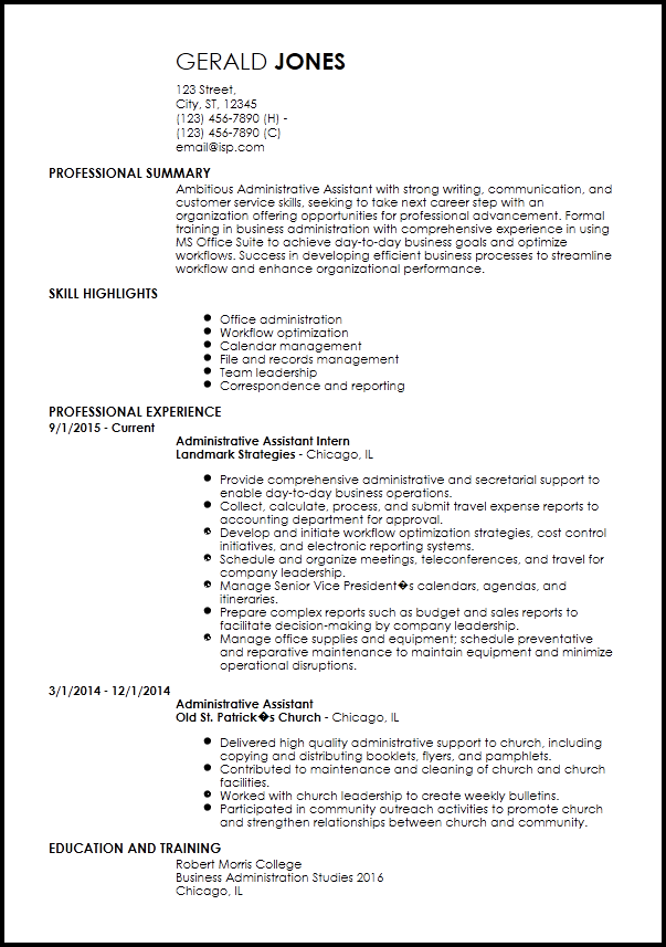 Entry Level Resume Templates Free