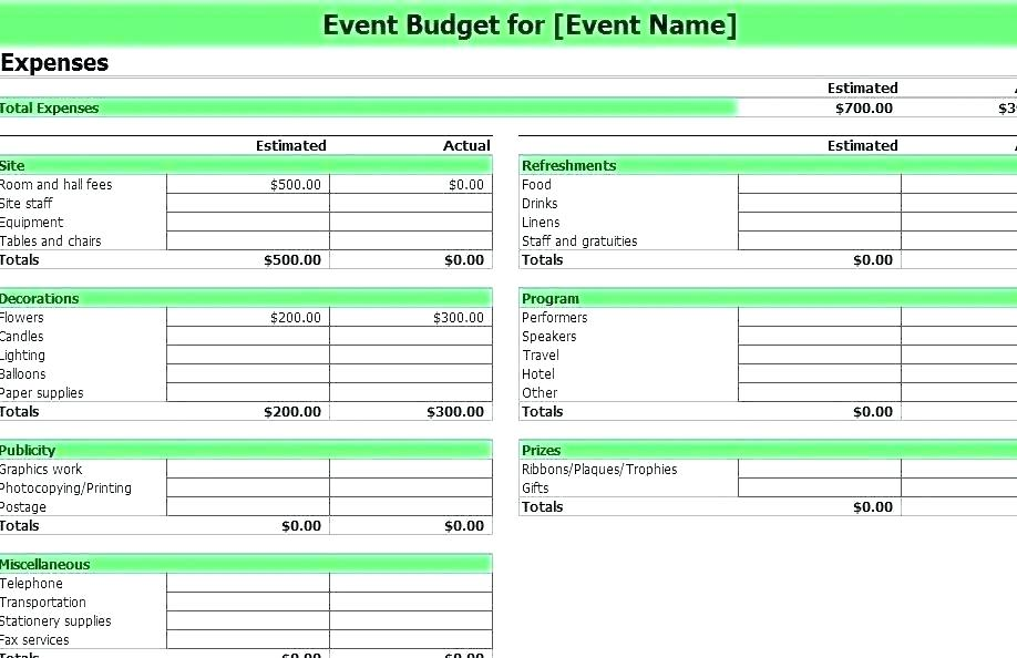 Event Planning Event Budget Template Excel