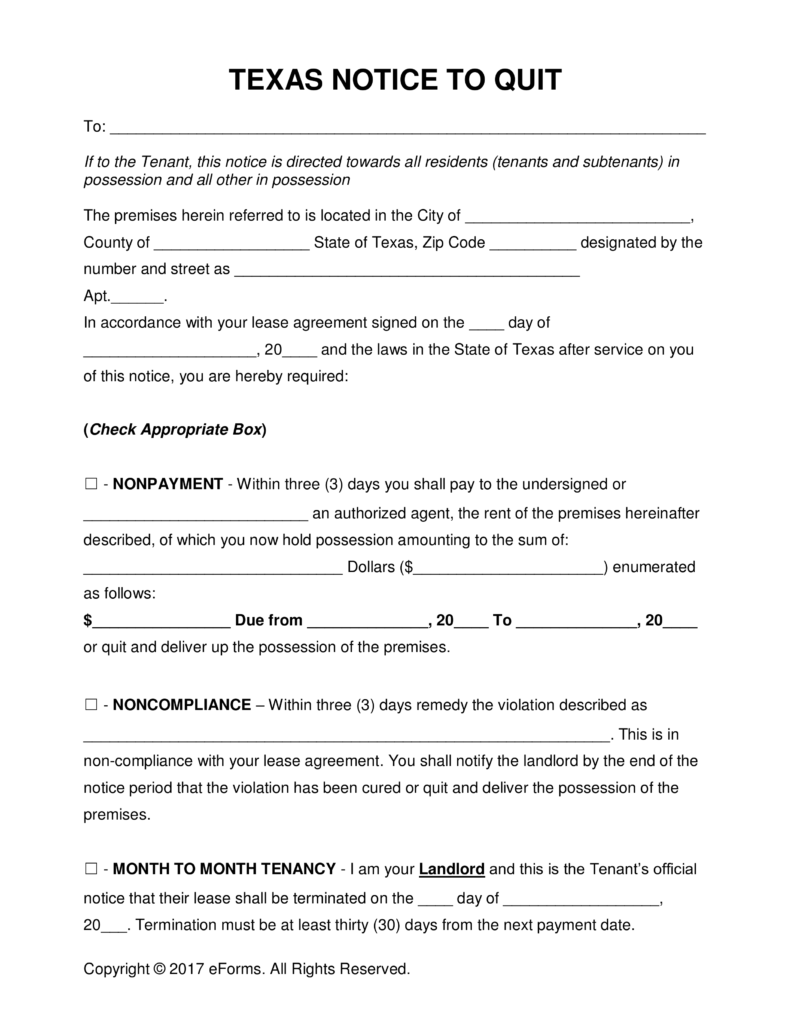 Eviction Letter Template Texas