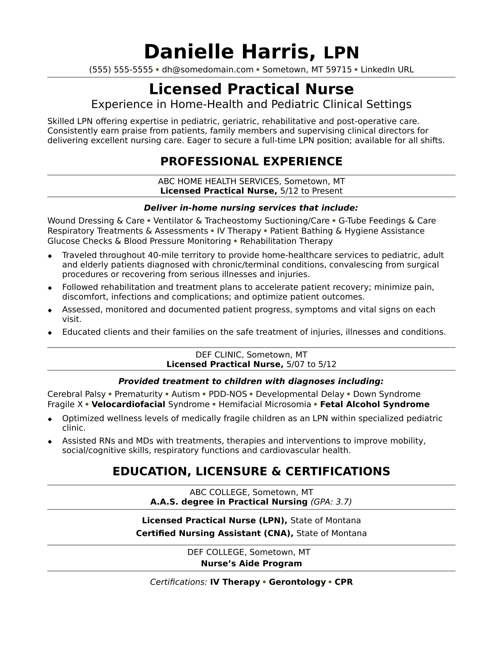 Examples Of Lpn Resumes