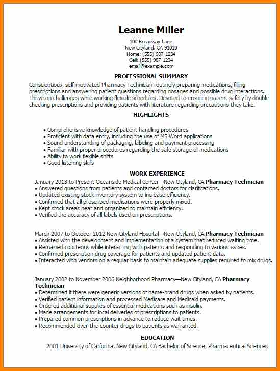 Examples Of Pharmacy Technician Resumes