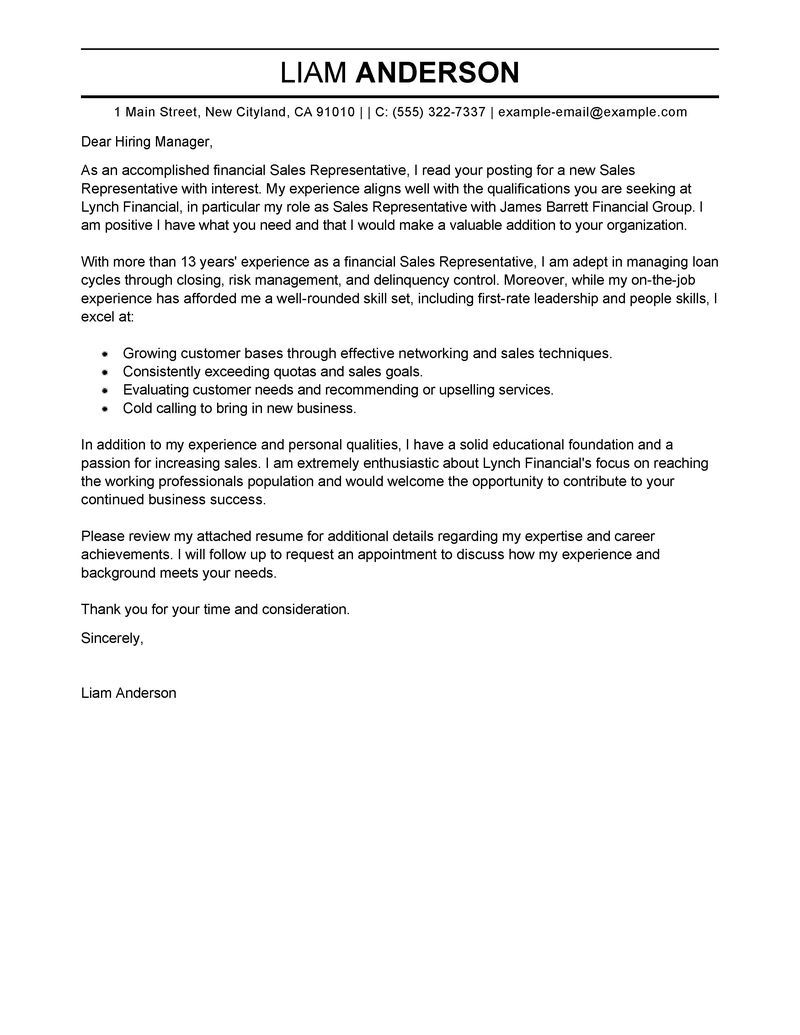 Examples Of Professional Cover Letters For Resumes