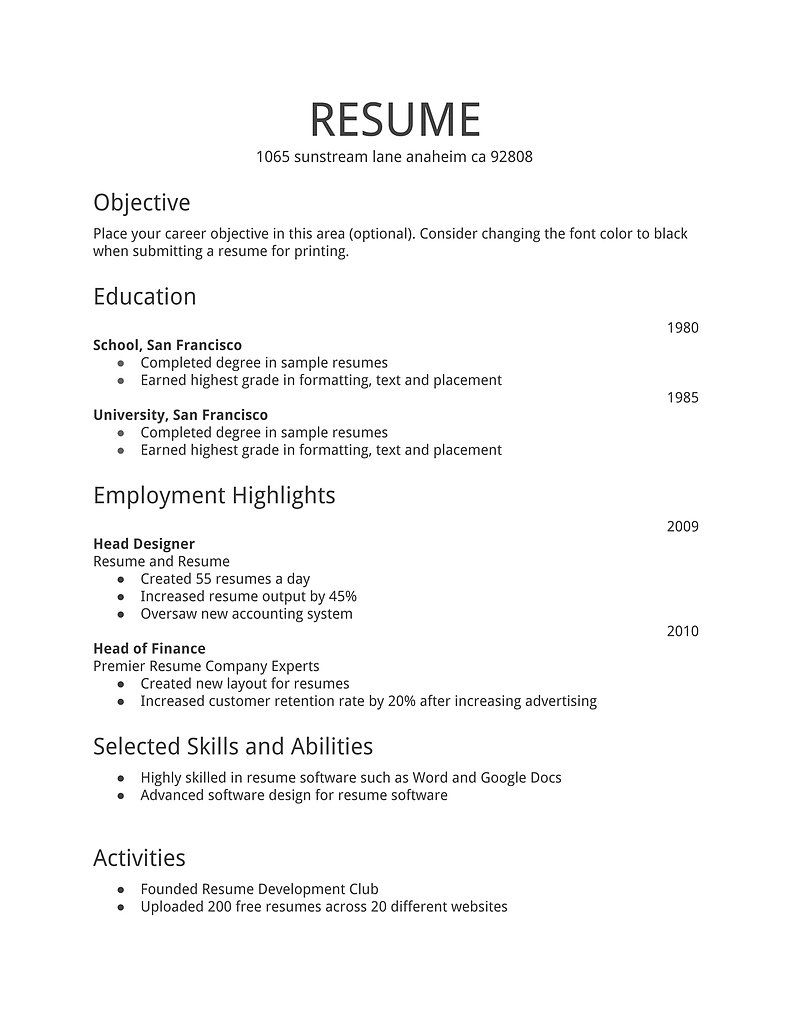Simple Job Resume Examples – Best Resume Template For Simple Examples Of Resumes For Jobs