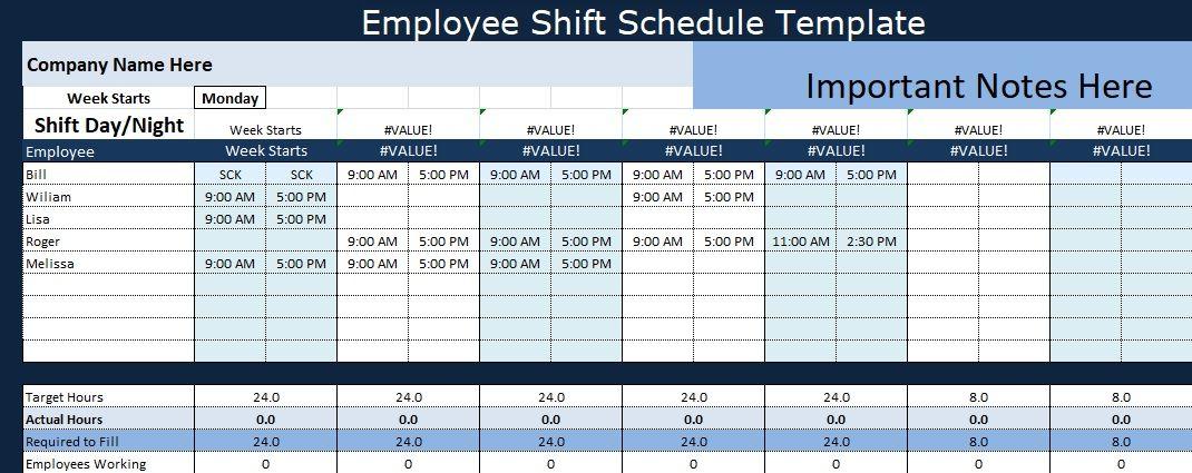 Excel Employee Shift Schedule Template