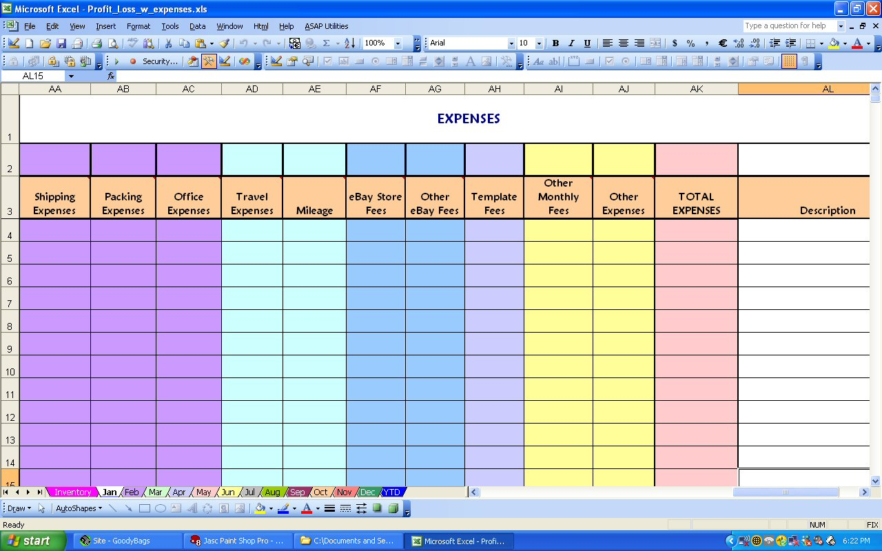 Excel Spreadsheet Template For Monthly Expenses