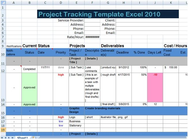 Excel Spreadsheet Templates For Project Tracking