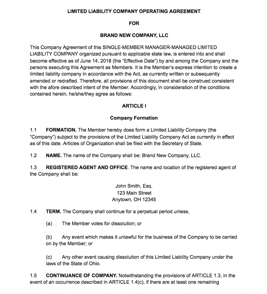 Family Llc Operating Agreement Template
