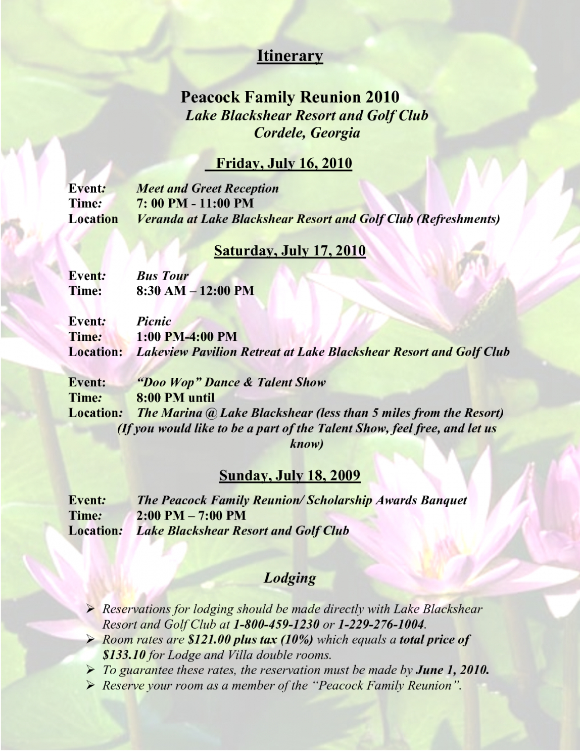 Free Sample Family Reunion Program Templates Itinerary Peacock Family Family Reunion Itinerary Template Sample