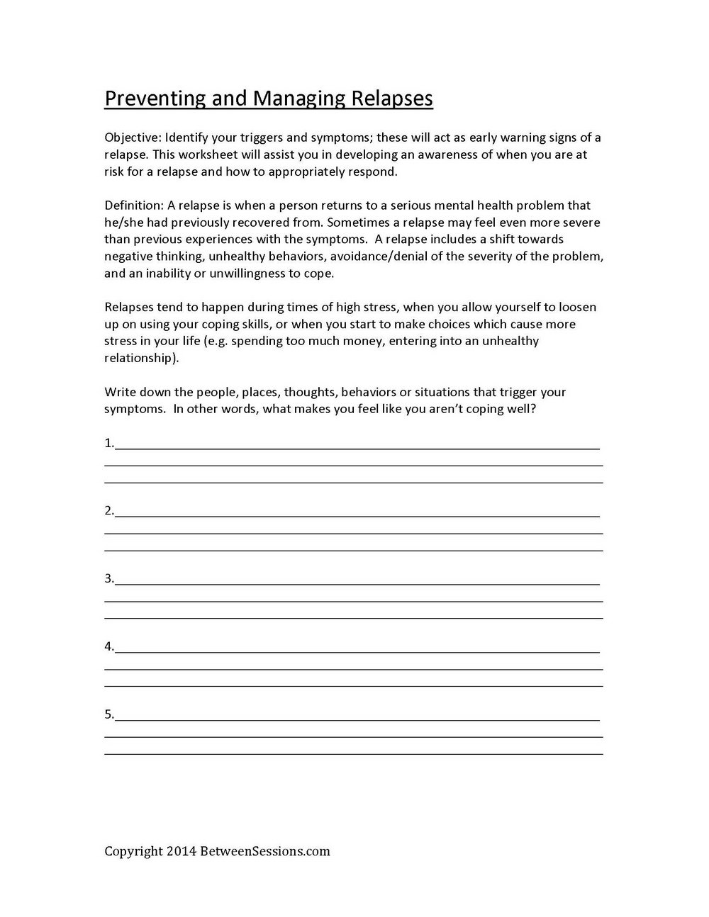 Fear In Addiction Recovery Worksheets
