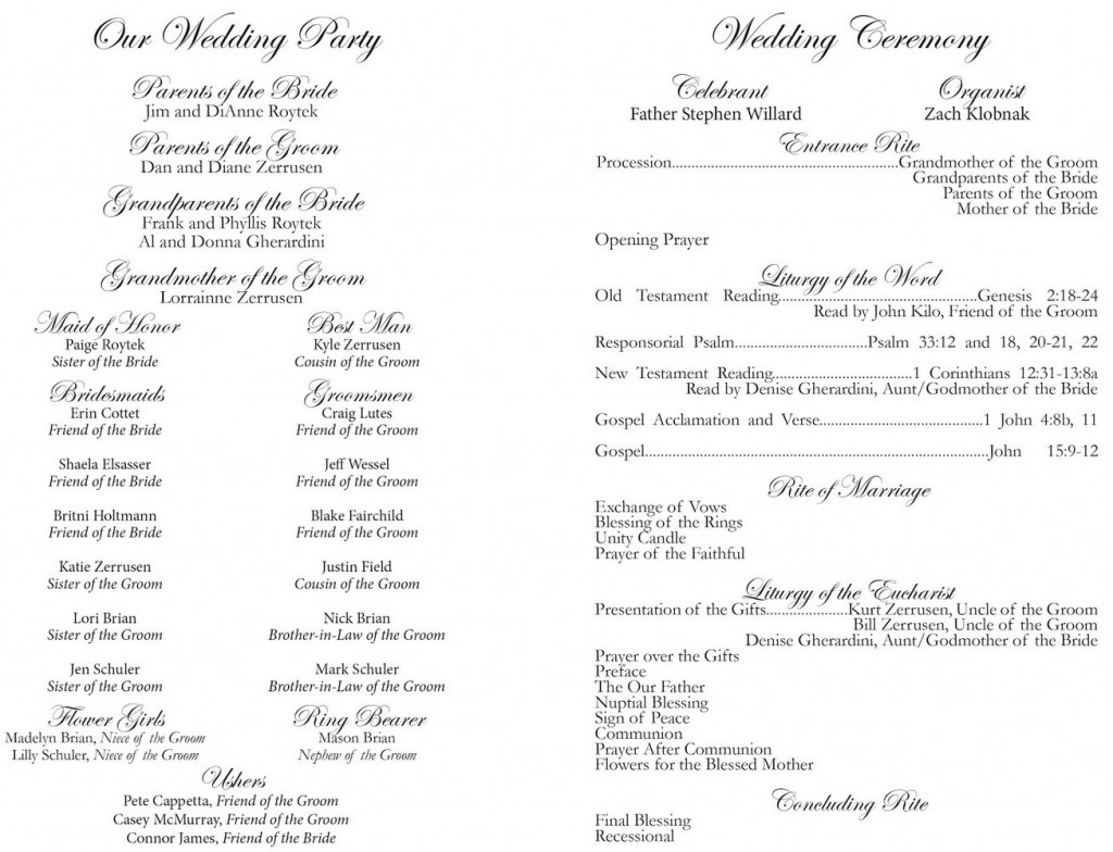 Filipino Wedding Ceremony Program Template