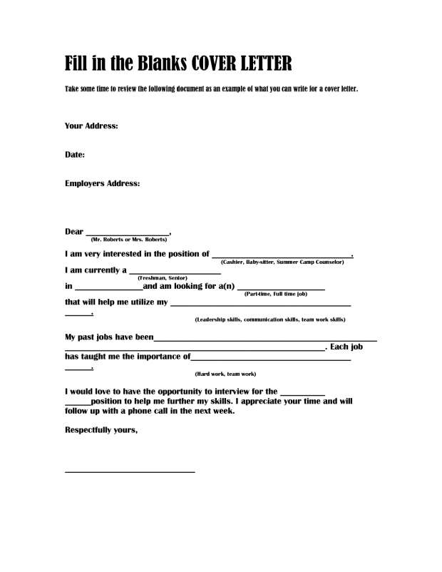 Fill In The Blank Cover Letter Template