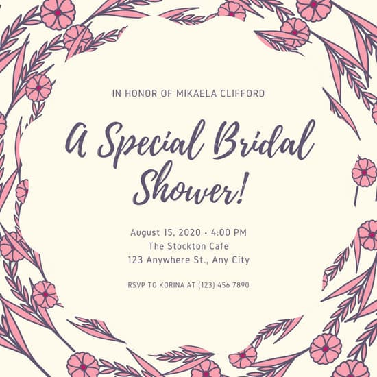 Floral Bridal Shower Invitation Templates