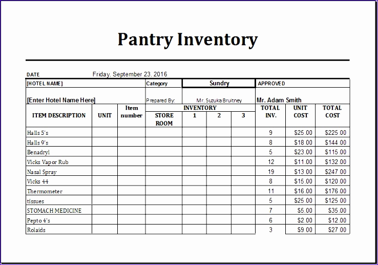 Food Inventory Spreadsheet Template Then 6 Pantry Inventory List Exceltemplates Exceltemplates