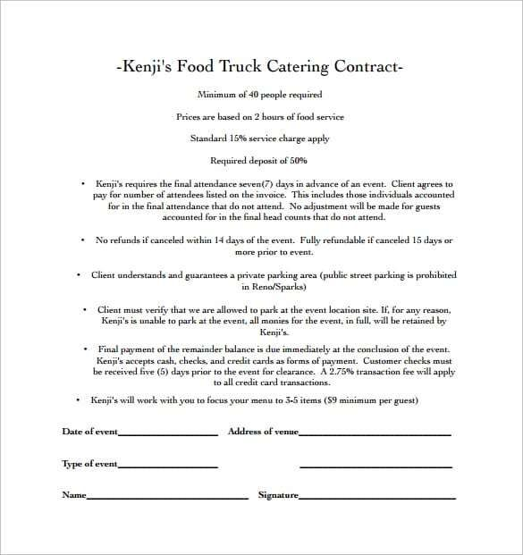 Food Truck Catering Contract Template
