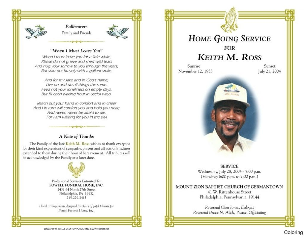 Free Blank Funeral Program Templates