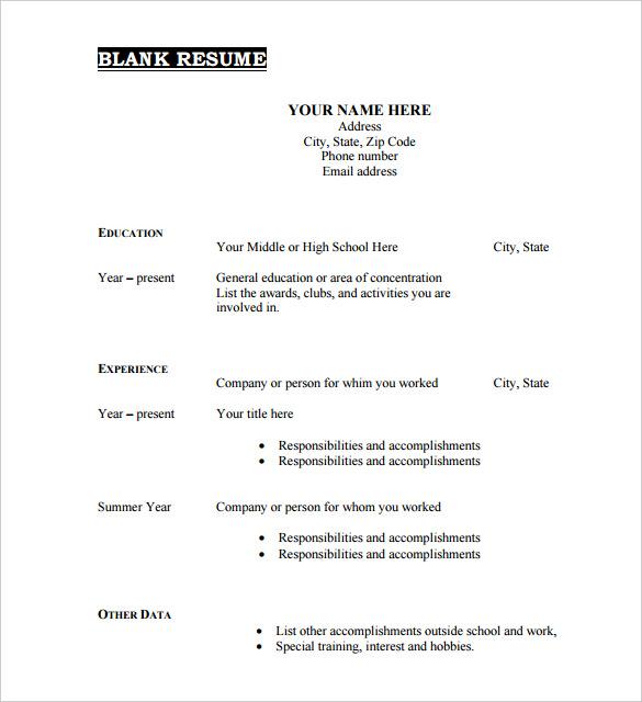 Free Blank Resume Template Pdf