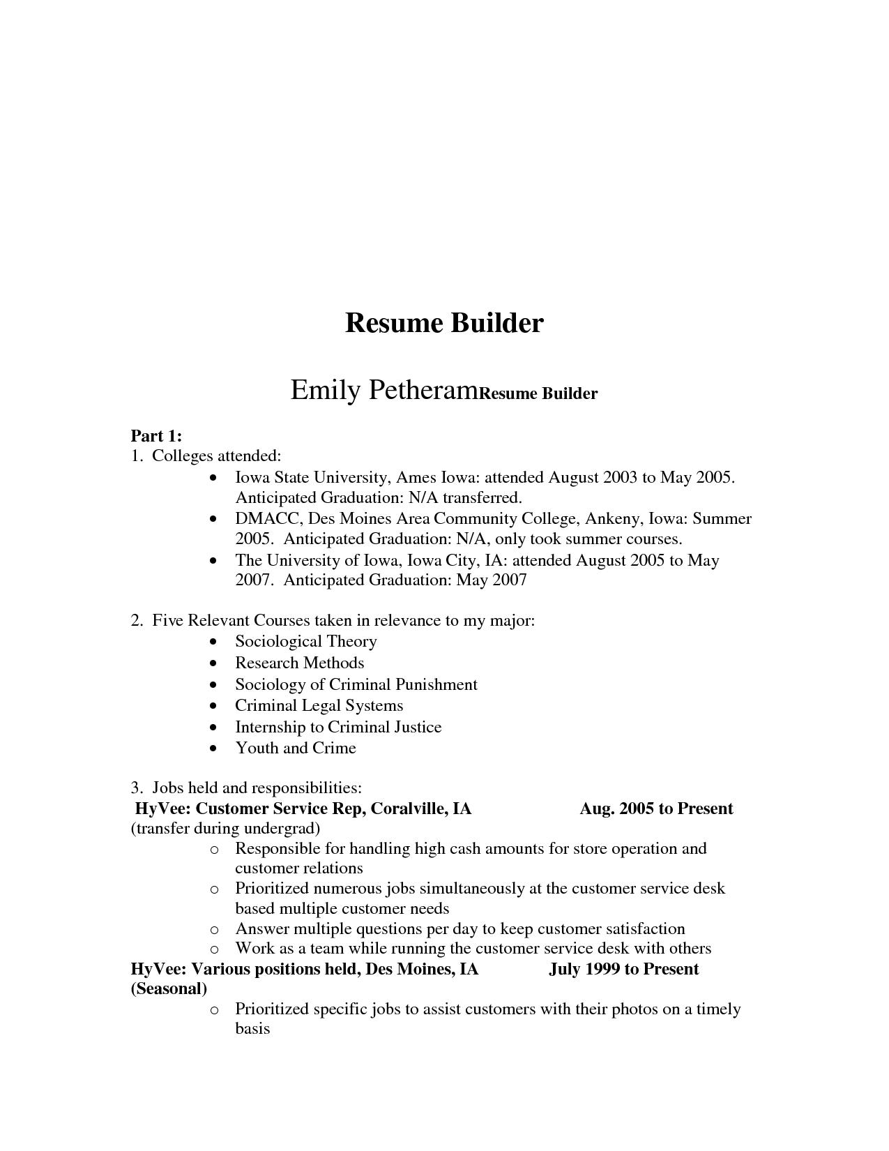 Free College Resume Builder