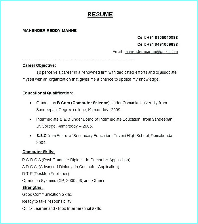 Free Download Resume Format In Word