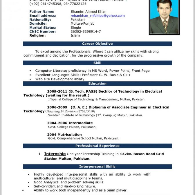 Free Download Sample Resume Word Format