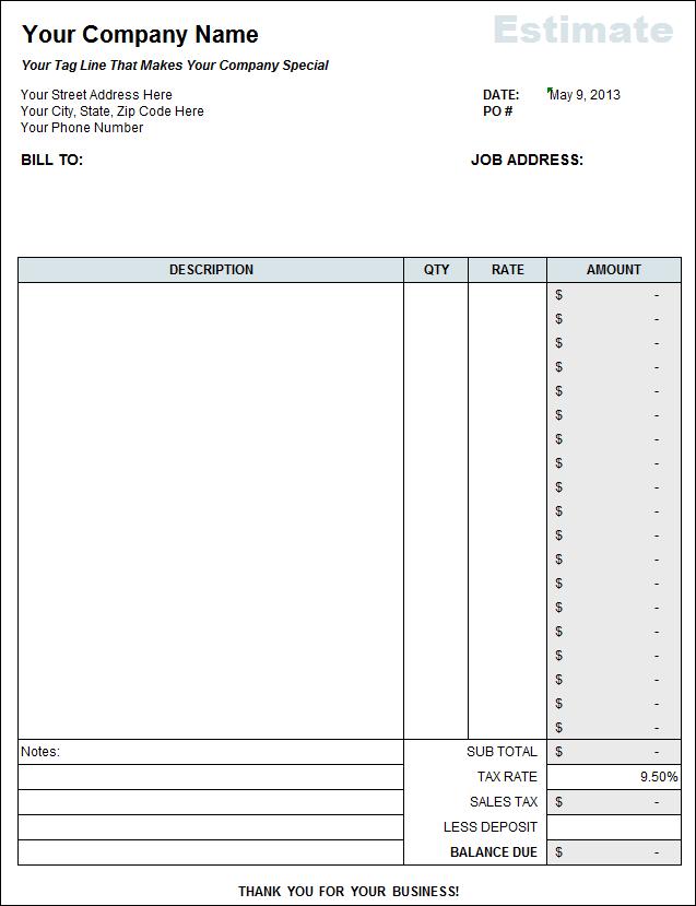 Free Estimate Template Excel