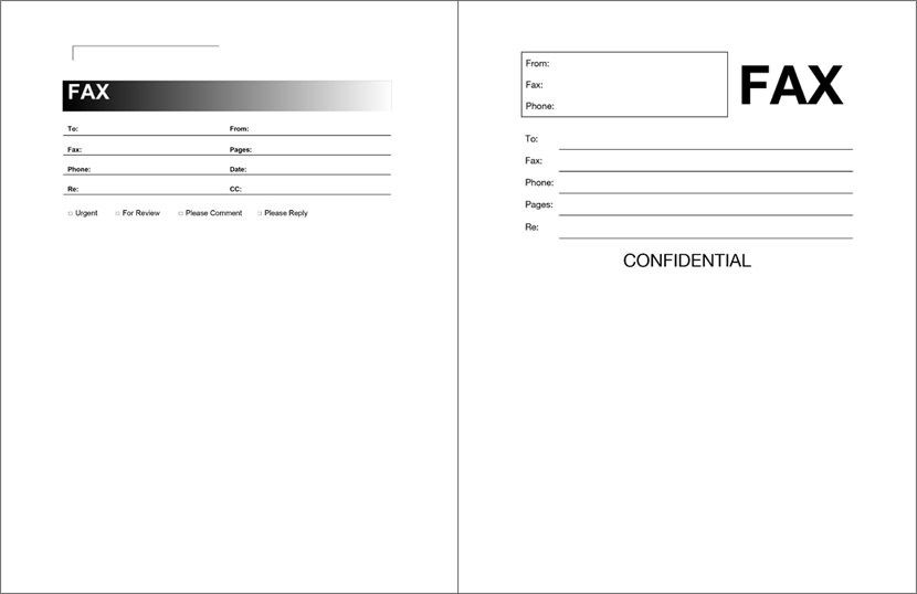 Free Fax Template Pdf