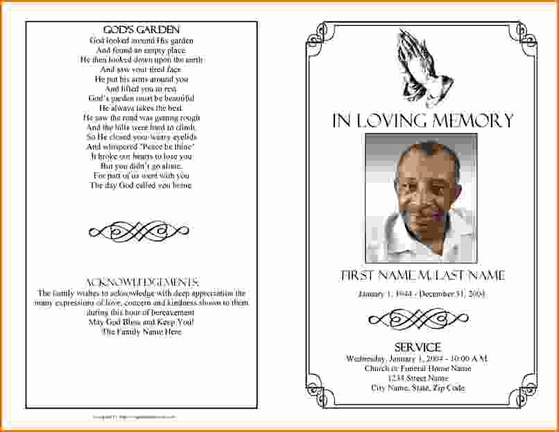 Free Printable Funeral Announcement Template And Memorial Service Program Template Microsoft Word