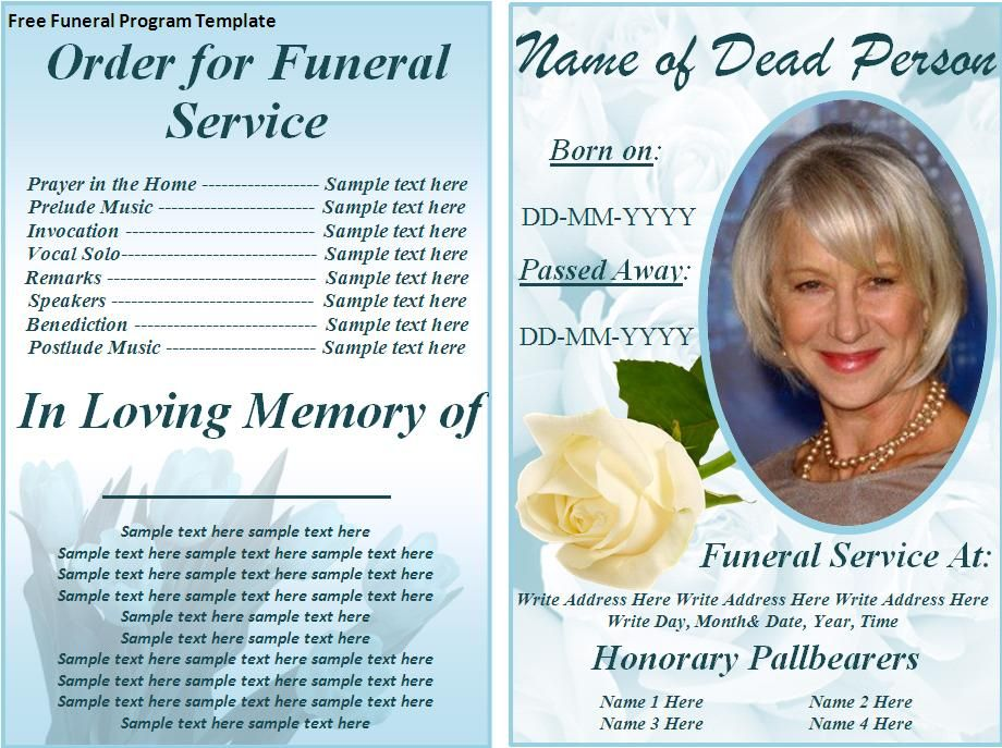 Free Funeral Program Templates Download