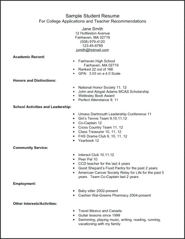Free High School Resume Templates Microsoft Word