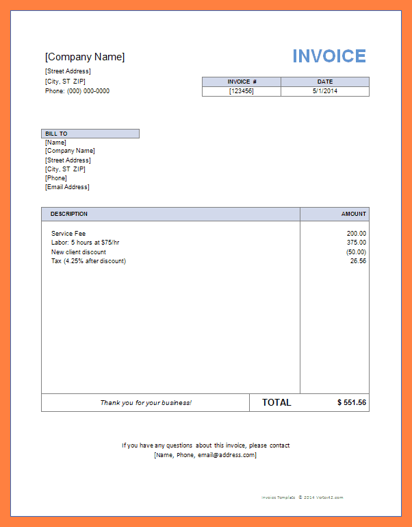 Free Invoice Template Uk Word