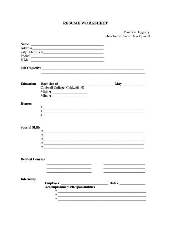 Free Printable Blank Resume