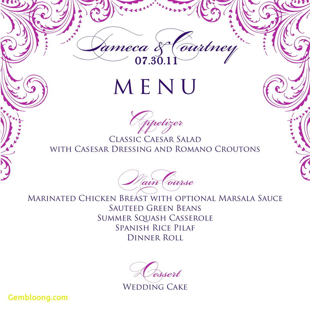 Free Printable Dinner Party Menu Template